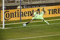 SAN JOSE, CA - SEPTEMBER 19: San Jose Earthquakes goalkeeper Daniel Vega #17 dives for a PK during a game between Portland Timbers and San Jose Earthquakes at Earthquakes Stadium on September 19, 2020 in San Jose, California.