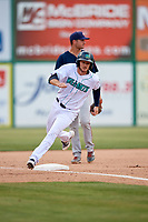 Lynchburg Hillcats right fielder Trenton Brooks (13) runs the bases during the first game of a doubleheader against the Potomac Nationals on June 9, 2018 at Calvin Falwell Field in Lynchburg, Virginia.  Lynchburg defeated Potomac 5-3.  Third baseman Jake Noll is in the background.  (Mike Janes/Four Seam Images)
