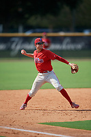 Philadelphia Phillies Cole Stobbe (7) throws to first base during a Florida Instructional League game against the New York Yankees on October 11, 2018 at Yankee Complex in Tampa, Florida.  (Mike Janes/Four Seam Images)