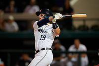Lakeland Flying Tigers Austin Athmann (19) hits a walk-off home run during a Florida State League game against the Palm Beach Cardinals on April 17, 2019 at Publix Field at Joker Marchant Stadium in Lakeland, Florida.  Lakeland defeated Palm Beach 1-0.  (Mike Janes/Four Seam Images)