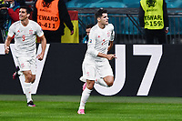 6th July 2021; Wembley Stadium, London, England; Euro 2020 Football Championships semi-final, Italy versus Spain; Goal celebration from scorer for the equalising goal,  Alvaro Morata in the 80th minute
