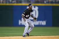 Chicago White Sox shortstop Tim Anderson (87) on defense against the Charlotte Knights at BB&T Ballpark on April 3, 2015 in Charlotte, North Carolina.  The Knights defeated the White Sox 10-2.  (Brian Westerholt/Four Seam Images)