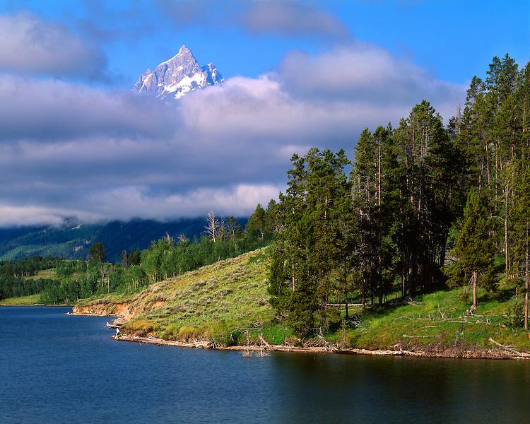 Cloud formations over the Teton Range, Elk Island, and  Jackson Lake; Grand Teton National Park, WY