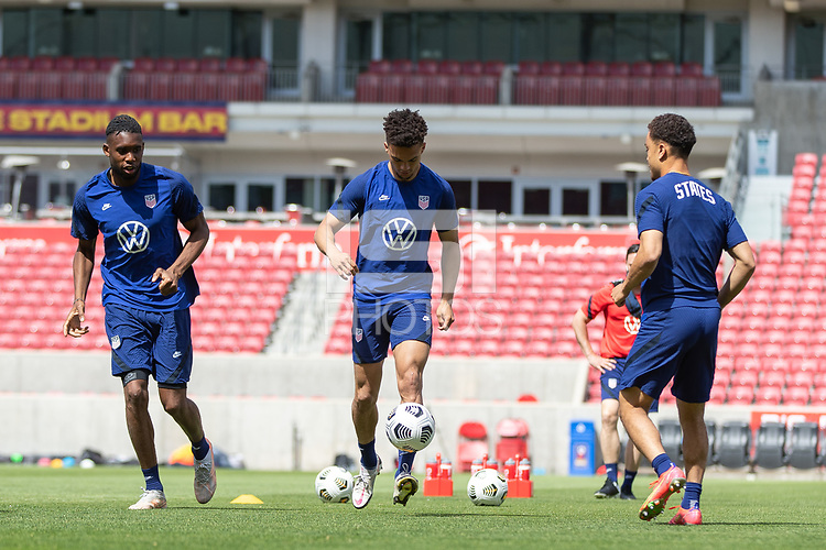 SANDY, UT - JUNE 8: Antonee Robinson moves with the ball during a training session at Rio Tinto Stadium on June 8, 2021 in Sandy, Utah.