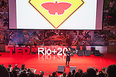 Prof Natalie Jeremijenko from New York University delivers her TEDx talk at the Human Power side event at the Copacabana Fort. United Nations Conference on Sustainable Development (Rio+20), Rio de Janeiro, Brazil. Photo © Sue Cunningham.