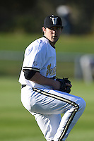 Vanderbilt Commodores pitcher Ben Bowden (35) throws in the outfield before a game against the Indiana State Sycamores on February 20, 2015 at Charlotte Sports Park in Port Charlotte, Florida.  Vanderbilt defeated Indiana State 3-2.  (Mike Janes/Four Seam Images)