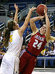 Liberty's Gabby Doxtator shoots over Manogue defender Malia Holt during the NIAA Division I state basketball tournament in Reno, Nev. on Thursday, Feb. 25, 2016. Liberty won 59-53. Cathleen Allison/Las Vegas Review-Journal