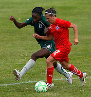 Washington Freedom forward Lisa De Vanna (17)  and St. Louis Athletica defender Tina Ellertson (8) during a WPS match at Anheuser-Busch Soccer Park, in Fenton, MO, June 20 2009. Washington  won the match 1-0.