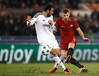 Football Soccer: UEFA Champions League AS Roma vs Qarabag FK Stadio Olimpico Rome, Italy, December 5, 2017. <br /> Roma's Edin Dzeko (r) in action with Qarabag's Elvin Yunuszada (l) during the Uefa Champions League football soccer match between AS Roma and Qarabag FK at at Rome's Olympic stadium, December 05, 2017.<br /> UPDATE IMAGES PRESS/Isabella Bonotto