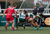 George Spencer of Jersey Reds is tackled by Reon Joseph of Ealing Trailfinders during the Championship Cup Quarter final match between Ealing Trailfinders and Jersey Reds at Castle Bar , West Ealing , England  on 22 February 2020. Photo by Alan  Stanford / PRiME Media Images.