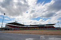 General view of abandoned Cardinal Stadium, former home of the Triple-A Louisville Redbirds / River Bats, on September 15, 2018 at Cardinal Stadium in Louisville, Kentucky.  The stadium also hosted the NCAA Louisville Cardinals football and baseball teams, as well as an NFL pre-season game.  The stadium is set to be demolished. (Mike Janes/Four Seam Images)