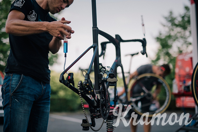mechanical doping or brake fluid infusion? (mechanics at work at the team hotel after the stage)<br /> <br /> Stage 7: Fougères > Chartres (231km)<br /> <br /> 105th Tour de France 2018<br /> ©kramon