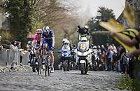 Kasper ASGREEN (DEN/Deceuninck-Quick Step) & Sep Vanmarcke (BEL/EF Education First) up the Kruisberg<br /> <br /> 103rd Ronde van Vlaanderen 2019<br /> One day race from Antwerp to Oudenaarde (BEL/270km)<br /> <br /> ©kramon