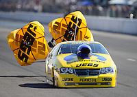 Sept. 29, 2012; Madison, IL, USA: NHRA pro stock driver Jeg Coughlin during qualifying for the Midwest Nationals at Gateway Motorsports Park. Mandatory Credit: Mark J. Rebilas-