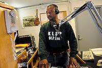 USA. Angola. 21st April 2008..Dj Carlwyn Turney, alias The Gospel Boy at the prison's radio station..©Andrew Testa