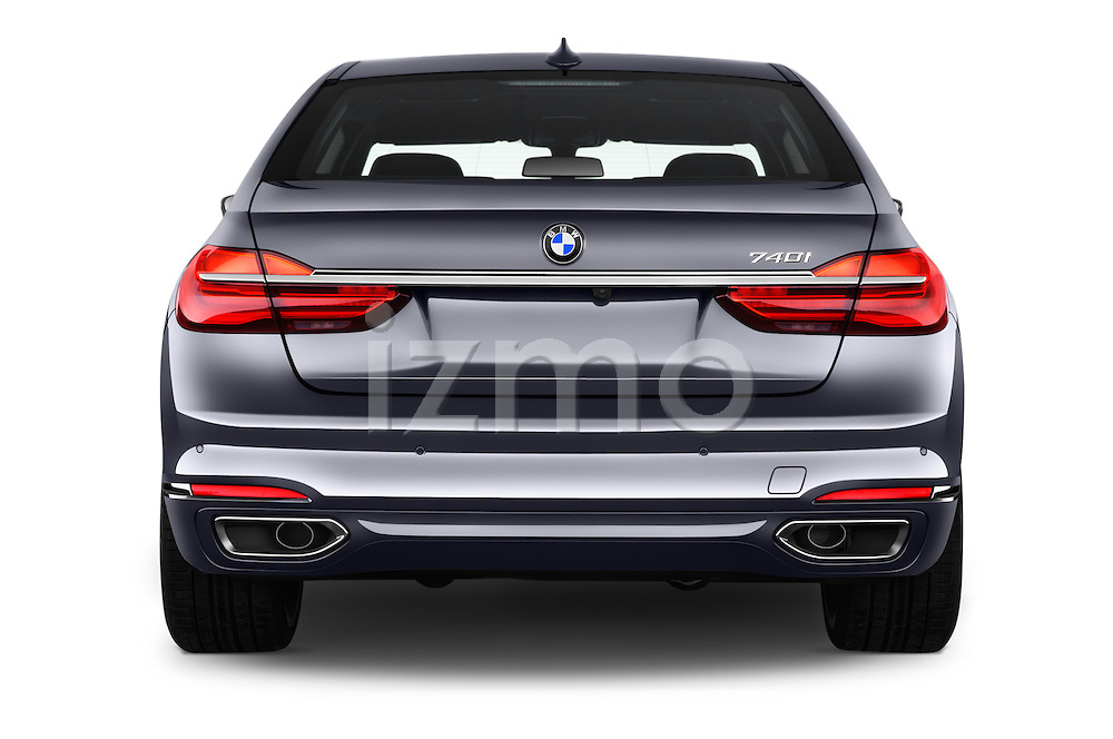 Straight rear view of 2017 BMW 7 Series 740i 4 Door Sedan Rear View  stock images