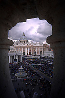 St Peter's square at the Vatican.Pope Francis during of the Palm Sunday celebration on St Peter's square at the Vatican.April 14,2019