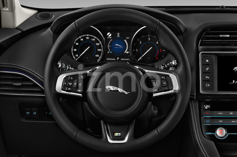 Car pictures of steering wheel view of a 2018 Jaguar F-PACE 20d-R-Sport-AWD 5 Door SUV Steering Wheel