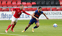 Blackpool's CJ Hamilton under pressure from Crewe Alexandra's Harry Pickering<br /> <br /> Photographer Rich Linley/CameraSport<br /> <br /> The EFL Sky Bet League One - Crewe Alexandra v Blackpool - Saturday 17th October 2020 - Gresty Road - Crewe<br /> <br /> World Copyright © 2020 CameraSport. All rights reserved. 43 Linden Ave. Countesthorpe. Leicester. England. LE8 5PG - Tel: +44 (0) 116 277 4147 - admin@camerasport.com - www.camerasport.com