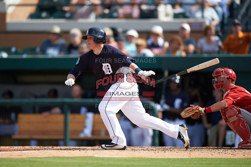 Detroit Tigers catcher Kade Scivicque (81) at bat during an exhibition game against the Florida Southern Moccasins on February 29, 2016 at Joker Marchant Stadium in Lakeland, Florida.  Detroit defeated Florida Southern 7-2.  (Mike Janes/Four Seam Images)