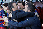 FC Barcelona's coach Luis Enrique Martinez celebrates with his assistants the victory in La Liga 2015/2016. May 14,2016. (ALTERPHOTOS/Acero)