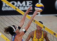 Italy's Greta Cicolari, left, in action against Australia's Louise Bawden at the Beach Volleyball World Tour Grand Slam, Foro Italico, Rome, 21 June 2013.<br /> UPDATE IMAGES PRESS/Isabella Bonotto