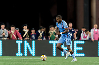FOXBOROUGH, MA - SEPTEMBER 29: Sebastien Ibeagha #33 of New York City FC dribbles during a game between New York City FC and New England Revolution at Gillette Stadium on September 29, 2019 in Foxborough, Massachusetts.
