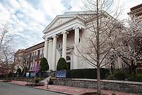 Holy Trinity Catholic Church, Georgetown, Washington DC, USA. Holy Trinity Elementary School on far left.