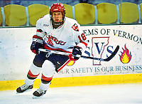 2 January 2009: St. Lawrence Saints' forward Sean Flanagan, a Junior from Canton, NY, in action against the Ferris State Bulldogs in the first game of the 2009 Catamount Cup Ice Hockey Tournament hosted by the University of Vermont at Gutterson Fieldhouse in Burlington, Vermont. The Saints defeated the Bulldogs 5-4 to move onto the championship game against the University of Vermont Catamounts...Mandatory Photo Credit: Ed Wolfstein Photo
