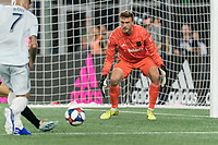 FOXBOROUGH, MA - AUGUST 4: Tyler Miller #1 of Los Angeles FC gets ready during a game between Los Angeles FC and New England Revolution at Gillette Stadium on August 3, 2019 in Foxborough, Massachusetts.