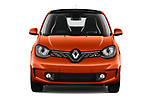 Car photography straight front view of a 2021 Renault Twingo-Electric Vibes 5 Door Hatchback Front View