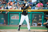 Francisco Arcia (10) of the Salt Lake Bees bats against the New Orleans Baby Cakes at Smith's Ballpark on June 8, 2018 in Salt Lake City, Utah. Salt Lake defeated New Orleans 4-0.  (Stephen Smith/Four Seam Images)