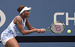 Venus Williams (USA) takes the first set from Belinda Bencic (SUI)  6-3 at the US Open in Flushing, NY on September 4, 2015.