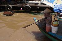Mekong River<br /> , Cambodia - 2007 File Photo -<br /> <br /> fishing village woman on boat.   <br /> <br /> <br /> <br /> <br /> photo : James Wong-  Images Distribution