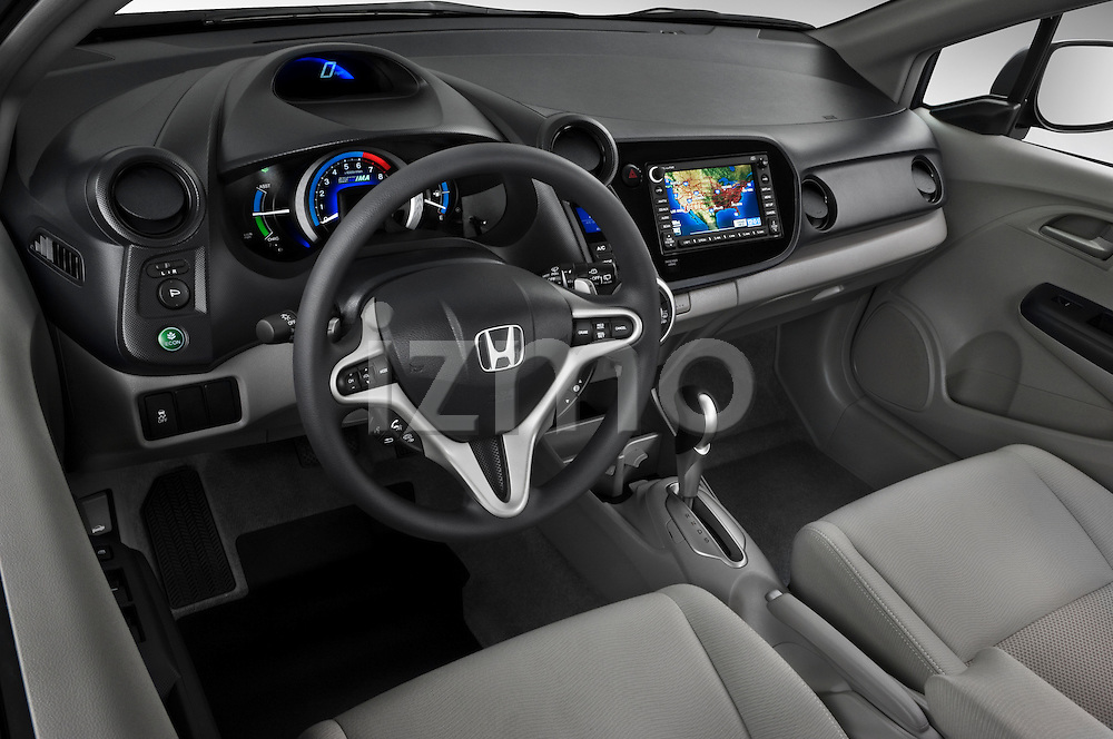 High angle dashboard view of a 2010 Honda Insight EXL