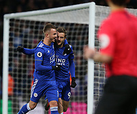 Leicester City's Jamie Vardy celebrates scoring the opening goal with team-mate James Maddison <br /> <br /> <br /> <br /> Photographer Stephen White/CameraSport<br /> <br /> The Premier League - Leicester City v Watford - Saturday 1st December 2018 - King Power Stadium - Leicester<br /> <br /> World Copyright © 2018 CameraSport. All rights reserved. 43 Linden Ave. Countesthorpe. Leicester. England. LE8 5PG - Tel: +44 (0) 116 277 4147 - admin@camerasport.com - www.camerasport.com