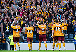 Motherwell v St Johnstone.....16.04.11  Scottish Cup Semi-Final.Motherwell players and fans celebrates.Picture by Graeme Hart..Copyright Perthshire Picture Agency.Tel: 01738 623350  Mobile: 07990 594431
