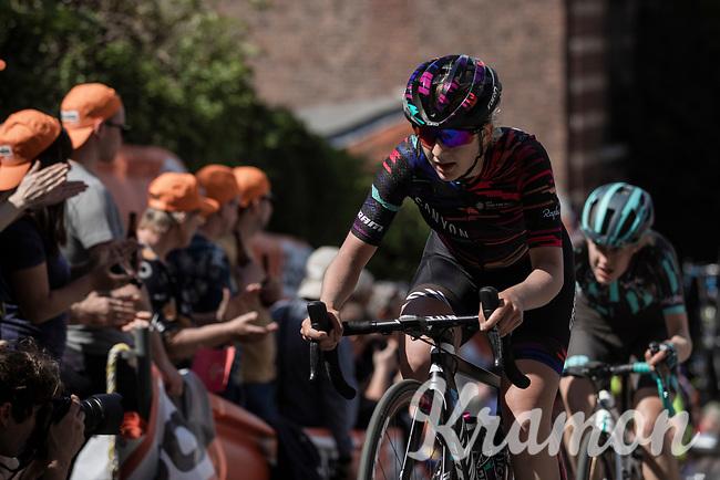 Hannah Ludwig (DEU/Canyon Sram Racing) up the infamous Mur de Huy.<br /> <br /> 22nd la Flèche Wallonne Féminin 2019 (1.WWT)<br /> 1 Day Race: Huy – Huy 118,5km<br /> women's elite race<br /> <br /> ©kramon