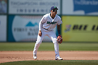 Lynchburg Hillcats third baseman Gabriel Rodriguez (2) on defense against the Myrtle Beach Pelicans at Bank of the James Stadium on May 23, 2021 in Lynchburg, Virginia. (Brian Westerholt/Four Seam Images)