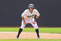 Clinton LumberKings shortstop Johnny Adams (26) during a Midwest League game against the Lansing Lugnuts on July 15, 2018 at Ashford University Field in Clinton, Iowa. Clinton defeated Lansing 6-2. (Brad Krause/Four Seam Images)