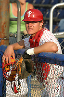 July 11, 2005:  Catcher Lou Marson of the Batavia Muckdogs during a game at Dwyer Stadium in Batavia, NY.  The Muckdogs are the Short Season Class-A affiliate of the Philadelphia Phillies.  Photo By Mike Janes/Four Seam Images