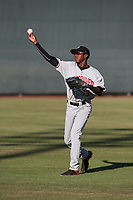 Reggie Pruitt (13) of the Vancouver Canadians throws before a game against the Salem-Keizer Volcanoes at Volcanoes Stadium on July 24, 2017 in Keizer, Oregon. Salem-Keizer defeated Vancouver, 4-3. (Larry Goren/Four Seam Images)