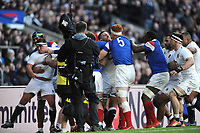 Tempers flare as Félix Lambey of France and Mark Wilson of England come face to face during the Guinness Six Nations match between England and France at Twickenham Stadium on Sunday 10th February 2019 (Photo by Rob Munro/Stewart Communications)