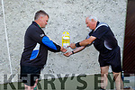 Match official Tom Griffin (right) from Lispole getting ready for the match with Jim Brosnan as they use the hand sanitiser in Austin Stack Park on Saturday evening.