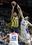 Fenerbahce Ulker Istambul's Andrew Goudelock (l) and CSKA Moscow's Manuchar Markoishvili (r) and Kyle Hines (d) during Euroleague Third Place Game. May 15,2015. (ALTERPHOTOS/Acero)