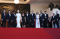 BYUNG HEEBONG, STEVEN YEUN, GUEST, TILDA SWINTON, AHN SEO-HYUN, DIRECTOR BONG JOON-HO, PAUL DANO, LILY COLLINS, JAKE GYLLENHAAL AND DEVON BOSTICK - RED CARPET OF THE FILM 'OKJA' AT THE 70TH FESTIVAL OF CANNES 2017
