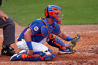 New York Mets catcher James McCann (33) during a Major League Spring Training game against the Washington Nationals on March 18, 2021 at Clover Park in St. Lucie, Florida.  (Mike Janes/Four Seam Images)