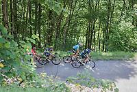 Alejandro Valverde (ESP/Movistar) is joined by Fabio Aru (ITA/Astana), Esteban Chavez (COL/Orica-Scott) &  Rafael Valls (ESP/Lotto-Soudal) up the Mont du Chat (HC/1504m/8.7km/10.3%)<br /> <br /> Stage 6: Le parc des oiseaux/Villars-Les-Dombes › La Motte-Servolex (147km)<br /> 69th Critérium du Dauphiné 2017