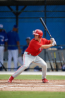 Philadelphia Phillies center fielder Adam Haseley (7) at bat during an Instructional League game against the Toronto Blue Jays on October 7, 2017 at the Englebert Complex in Dunedin, Florida.  (Mike Janes/Four Seam Images)