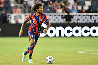 KANSAS CITY, KS - JULY 15: Gianluca Busio #6 of the United States with the ball during a game between Martinique and USMNT at Children's Mercy Park on July 15, 2021 in Kansas City, Kansas.